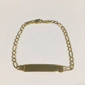 Other - 14k Yellow Gold Kids Figaro Link ID Bracelet